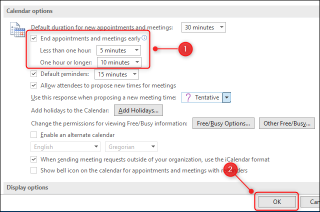 """The """"End appointments and meetings early"""" options."""