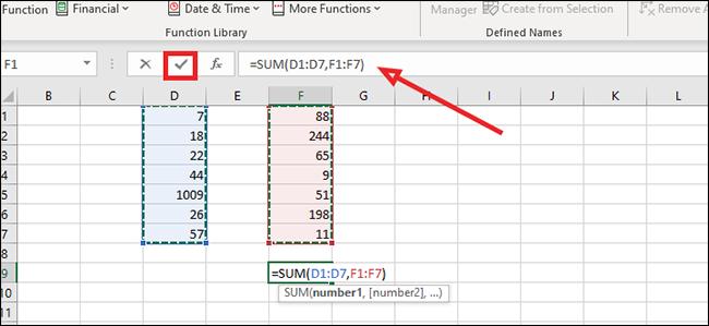 2 column sum formula