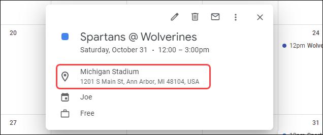 An address in a Google Calendar event.