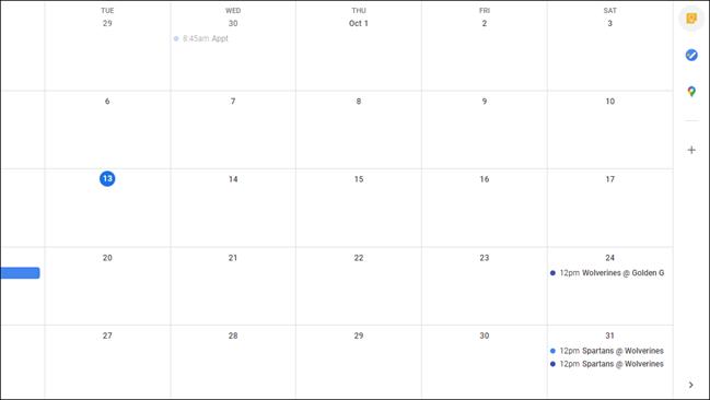 A closed sidebar in Google Calendar.