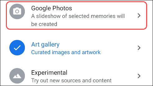 choose google photos from the ambient mode options