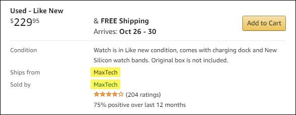 A listing for a used Smart Watch on Amazon from MaxTech.