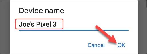 insira um novo nome e toque em OK