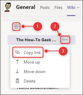 "The ""Copy link"" page menu option."