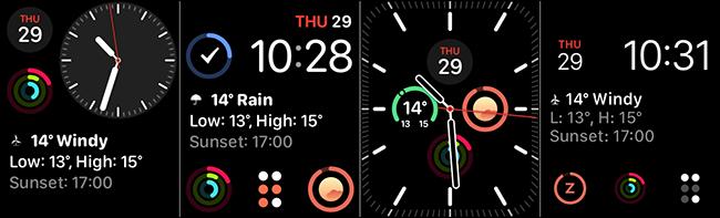 The Modular, Modular Compact, Infograph Modular, and Meridian watch faces for complications.