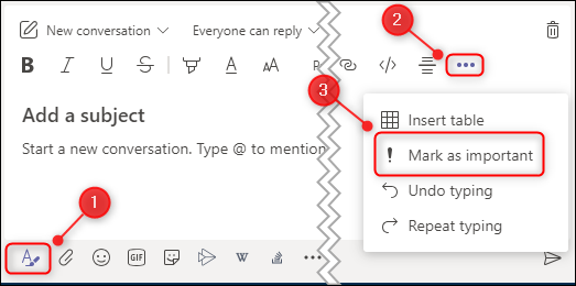 """A new channel message showing the """"Mark as important"""" menu option."""