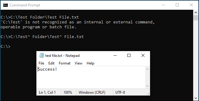 Caret space escaping working in the Command Prompt