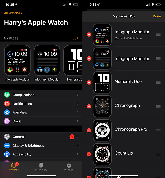 """The """"All Watches"""" menu on an iPhone."""