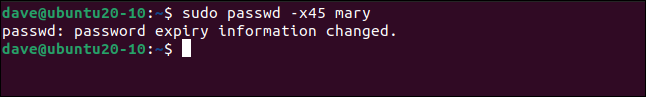 Notification of the password expiry change in a terminal window.