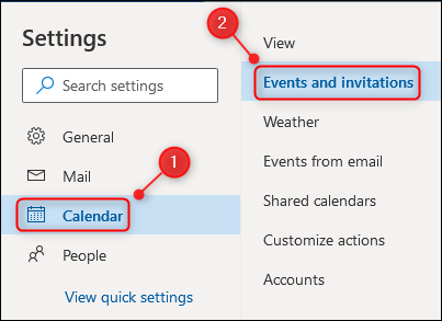 """The """"Events and invitations"""" menu option."""