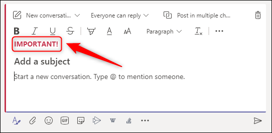 """A new message with the """"IMPORTANT!"""" header."""