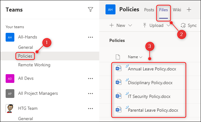 "The ""Policies"" channel showing the ""Files"" tab and some files."