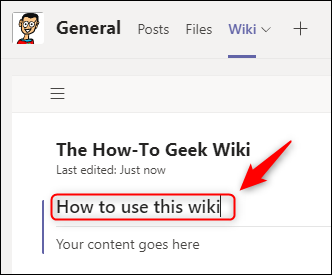 A renamed wiki section.