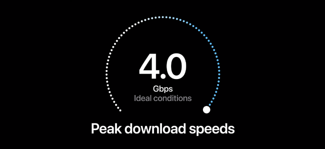 """Apple's iPhone presentation showing 4.0 Gbps 5G speeds in """"ideal conditions"""""""