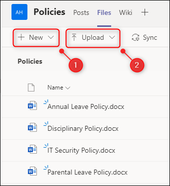 "The ""New"" and ""Upload"" options in the ""Files"" tab."