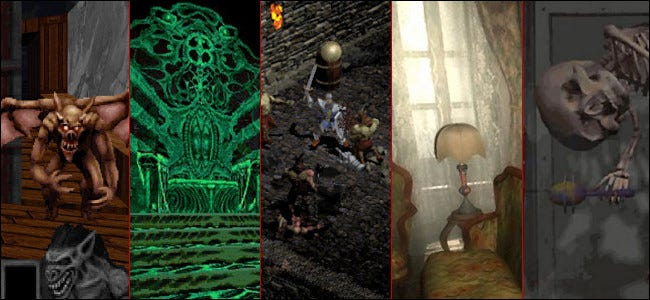 "Five screenshots from ""Zork Nemesis,"" ""Diablo,"" ""Blood: Fresh Supply,"" ""Scratches,"" and ""Realms of The Haunting."""