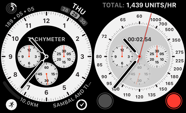 A Chronograph Pro watch face with a built in tachymeter complication.