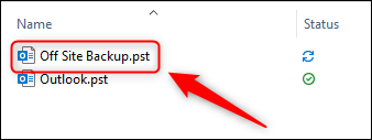 The exported .pst file in Windows Explorer.