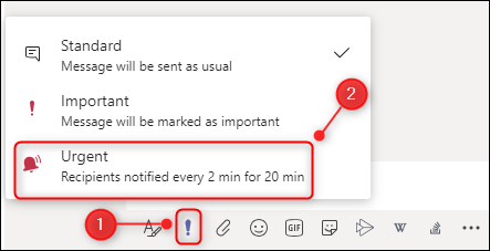"""A new chat message showing the """"Urgent"""" menu option."""