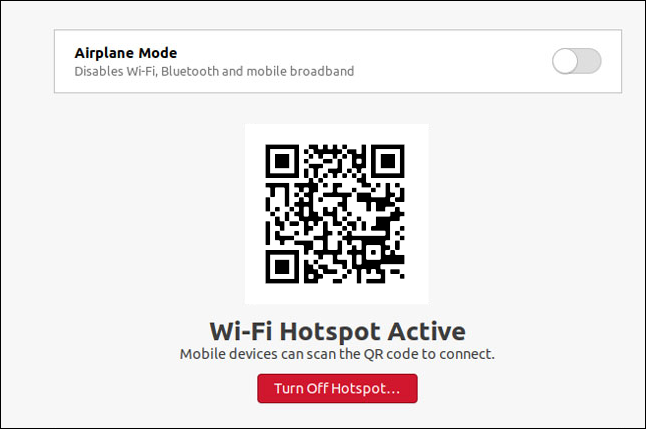 A Wi-Fi hotspot dialog box in Ubuntu 20.10.