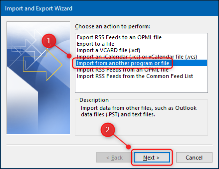 """Outlook's """"Import from another program or file"""" option."""