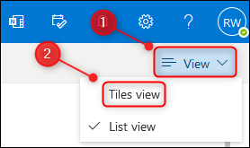 "The ""View"" menu and the ""Tiles view"" option."