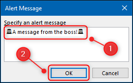 """Type your """"Alert Message,"""" and then click """"OK."""""""