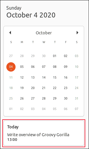 A calendar notification for Oct. 4, 2020, in Ubuntu 20.10.