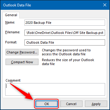 "The ""OK"" button in the Outlook Data File Advanced panel."