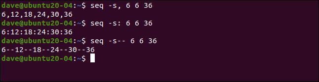 seq s, 6 6 36 en una ventana de terminal.