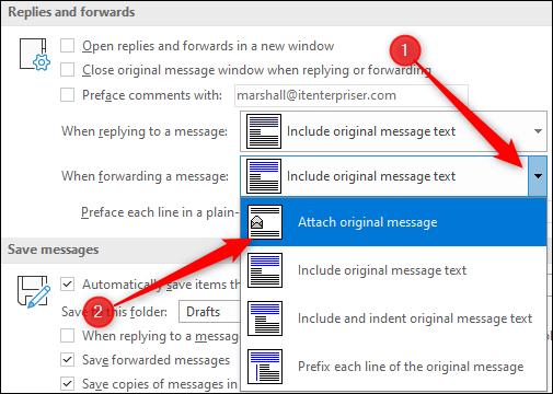 Attach original message option when forwarding emails
