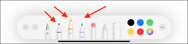 Choose Pen, Pencil, or Highlighter Option
