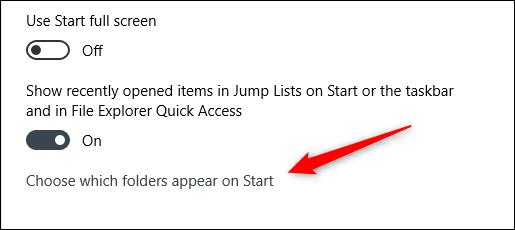 """Nhấp vào """"Chọn thư mục xuất hiện trên Start."""""""