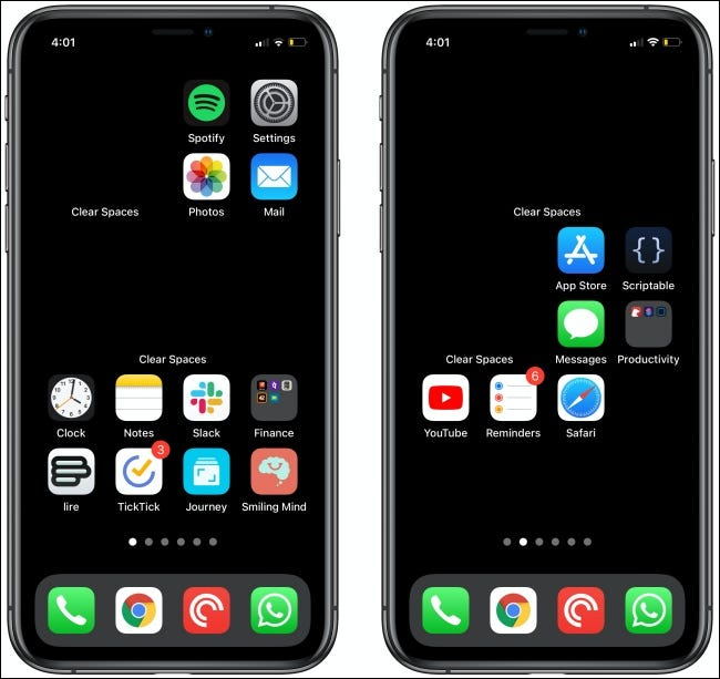 Clear Spaces on two iPhone Home screens.