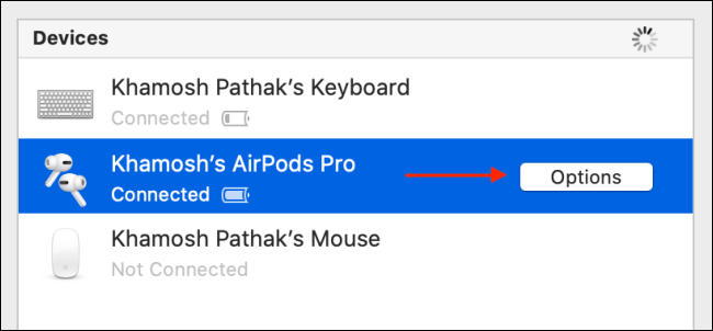 Click Options next To AirPods Pro