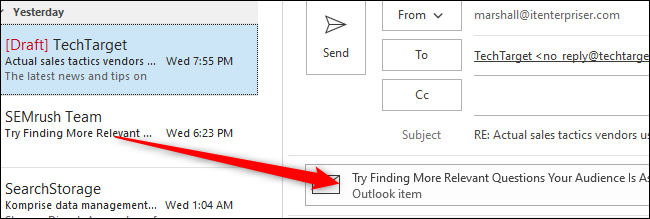 Click and drag email to body of new email