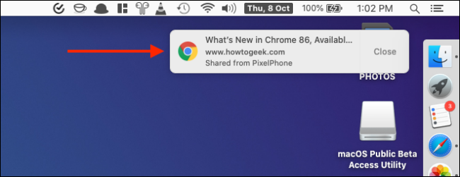 Click the Notification To Open Received Tab from Chrome on iPhone or iPad