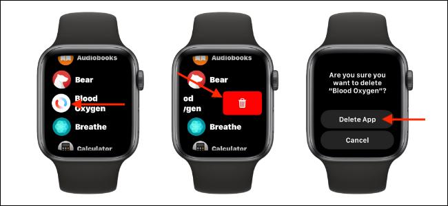 Delete Blood Oxygen App from List View on Apple Watch