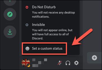 """No menu pop-up de status do Discord, pressione a opção """"Definir um status personalizado""""."""
