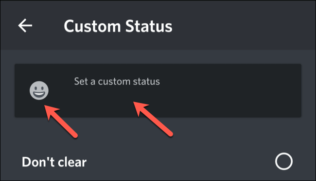 Type a custom status, and then tap the emoji to select one.