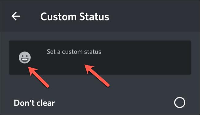 Digite um status personalizado e toque no emoji para selecionar um.
