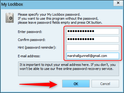 Enter the password and recovery email address