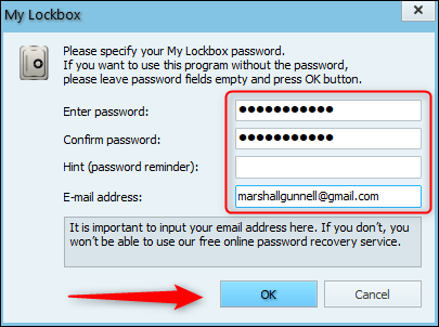 Enter password and recovery email