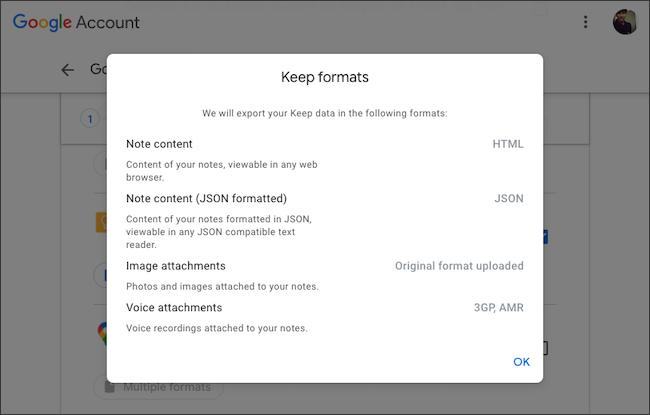 Verifique los formatos de archivo de exportación de datos de Google Keep