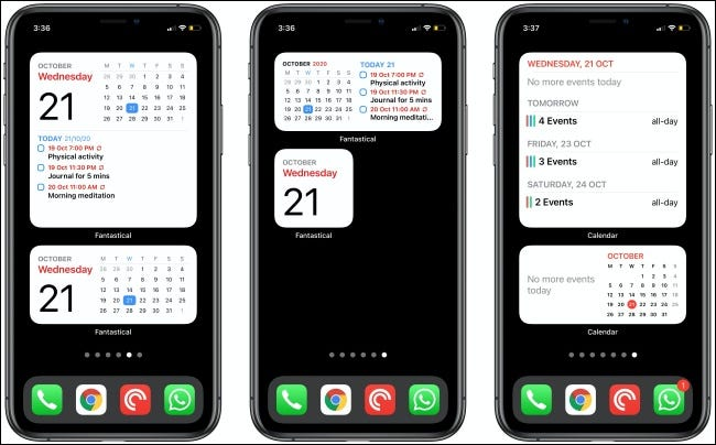 Fantastical and Calendar Widgets on three iPhones.