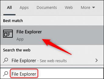 """Nhập """"File Explorer"""" vào hộp Tìm kiếm, sau đó nhấp vào nó trong kết quả."""