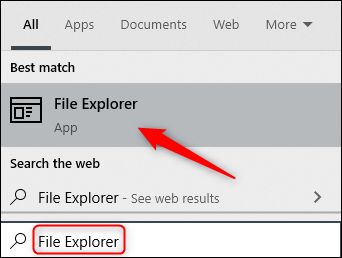 """Type """"File Explorer"""" in the Search box, and then click it in the results."""