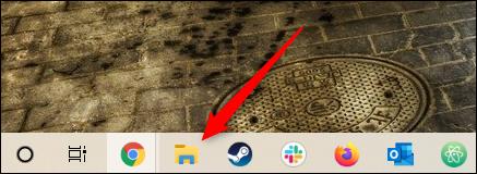 Biểu tượng thư mục File Explorer trên thanh tác vụ Windows 10.