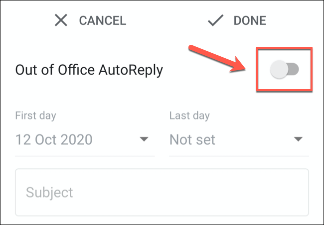 "Tap the ""Vacation Responder"" or ""Out of Office AutoReply"" slider to enable it."