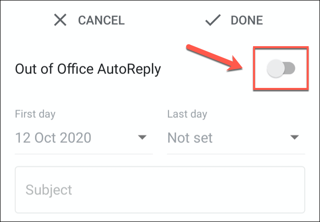 """Tap the """"Vacation Responder"""" or """"Out of Office AutoReply"""" slider to enable it."""
